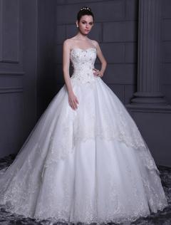 White Ball Gown Strapless Tulle Bridal Wedding Dress