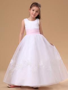 cd18a8ee9 Blanca Falda de Chica de Flor 2019 Apliques de Encaje Falda de Fiesta de Niñas  Rosado
