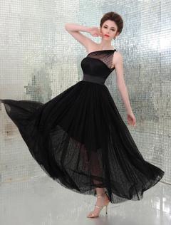 Black Kaley Cuoco One-Shoulder Illusion Neckline Tulle Overlay Emmy Awards Dress