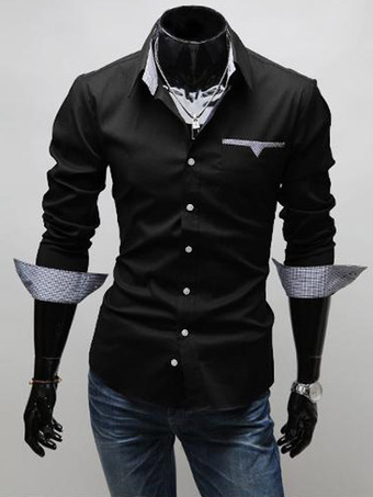 e1a1bb67507 Long Sleeve Shirt Black Spread Collar Tone Tone Plaid Men Casual Shirt
