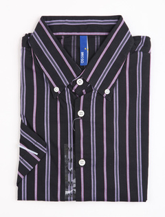Fashion Fuchsia 100% Cotton Short Sleeve Striped Mens Shirt