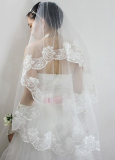Ivory One-Tier Embroidered Tulle Wedding Veils