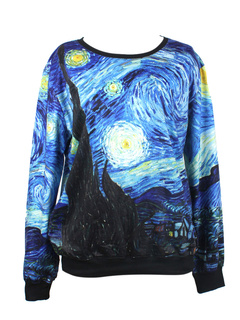 Casual Multi Color Crewneck Artwork Sweatshirt For Woman