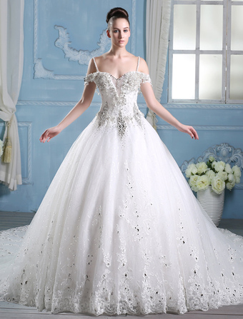 Ball gown princess wedding dress milanoo wedding dresses ball gown bridal dress rhinestones beaded straps ivory cathedral train luxury wedding gown junglespirit Images