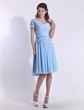 Baby Blue Bridesmaid Dress Lace Applique Beaded Prom Dress  Chiffon One Shoulder Pleated A Line Party Dress Milanoo