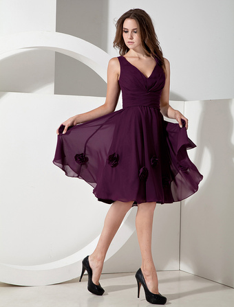 Chiffon V-neck Knee Length Bridesmaid Dress