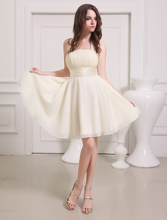 Gold Champagne Prom Dress Straps Sash Lace Up Bow Chiffon Dress