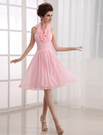 Short Bridesmaid Dress With Ruffles Halter Neck