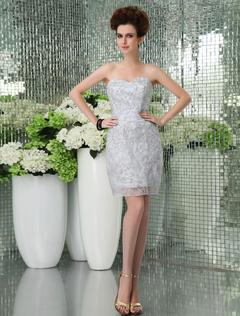 Cute Silver Lace Cloth Sweetheart Women s Mini Homecoming Dress 2db6de479