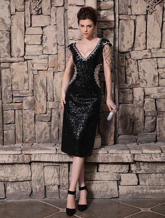 Grace V-Neck Beading Sheath Short Sleeves Sequined Evening Dress Wedding Guest Dress
