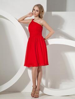 Red Cocktail Dress Knee-Length One-Shoulder Backless Chiffon Dress