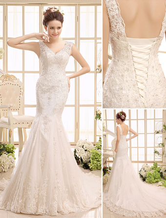 Court Train Ivory Bridal Wedding Gown