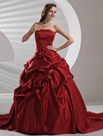 Robe de mariee rouge bordeau
