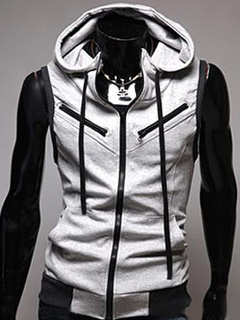 Men Sleeveless Hoodie Grey Drawstring Full Zip Hoodie Cotton Sweatshirt