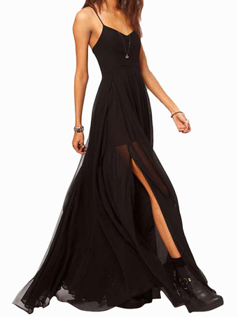 Black Maxi Dress Straps High Split Side Sexy Chiffon Dress