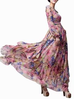 dc7ab3b477ee Robe maxi à manche longue rose imprimée fleurie