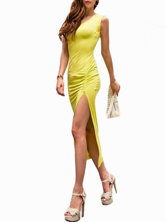Ruched High Split Maxi Dress
