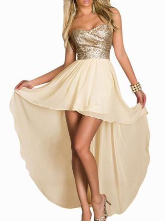 8cc9d2fa702ed حمالة عالية منخفضة فستان ماكسي عارية الذراعين بريق الترتر اللباس