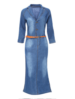 Blue Buttons Sash Denim Woman's Dress