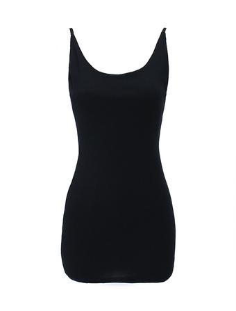 Shaping Black Cotton Sleeveless Mini Dress