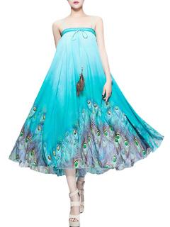 Blue Peacock Print Chiffon Dress/Skirt