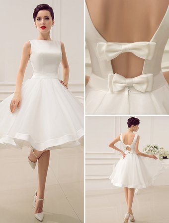 Short Wedding Dress Vintage Bridal 1950 S Bateau Sleeveless Reception Gown Milanoo