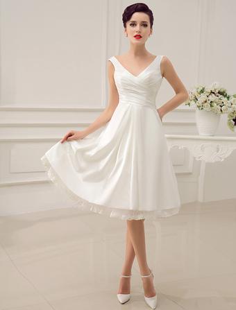 864ce1b1750 Robe de mariage Ivoire mi-longues bretelles dos-nu dentelle robe de mariée  Milanoo