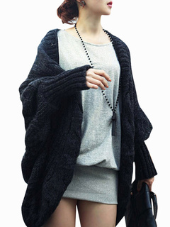 Black Acrylic Open Front Cardigan for Women