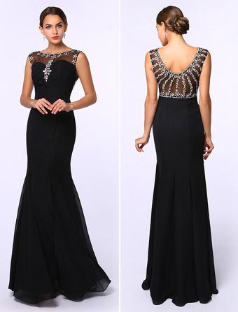 df6ab5dd042 Abendkleid aus Chiffon mit Bateau-Kragen und Kunstdiamanten Kleider für  Hochzeitsgäste