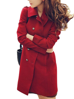 Fabulous Red Long Sleeves Rayon Woman's Coat