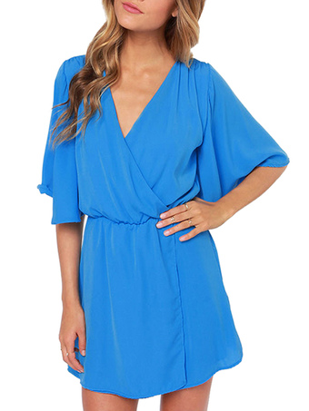 Sweet Blue V-Neck Half-Sleeve Chiffon Tunic Skater Dress For Woman