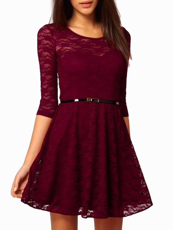 Red Lace Dress Long Sleeve Lace Midi Dress With Leather Belt