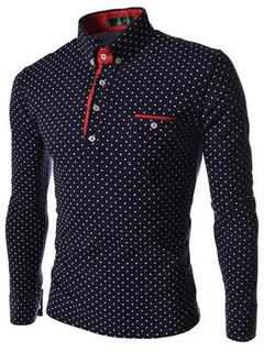 Polka Dot Long Sleeve Cotton Men's Shirt