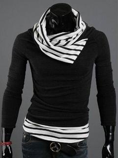 Men's Black Stripes Print Knitwear
