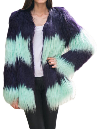 Splicing Striped Long Faux Fur Coat