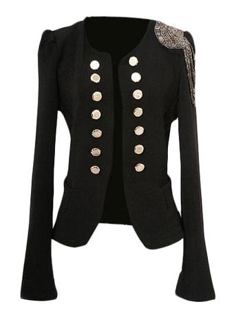 Black Double Breasted Jacket Fringe Chain Link Polyester Women's Jacket