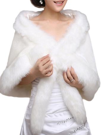 White Faux Fur Cape Coat