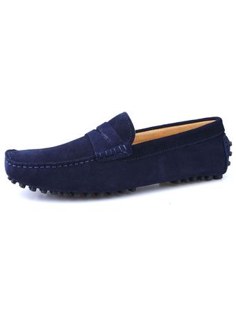 Mocassini blu scuro 2019 in pelle di vacchetta punta rotonda Scarpe da  guida Slip On Mocassini 697e29ff0c8