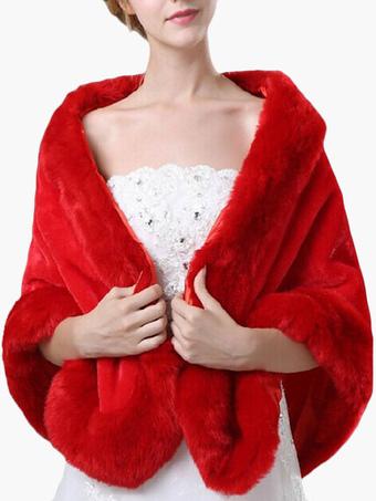 Faux Fur Coat Women Jacket Red Wrap Wedding Faux Fur Jacket