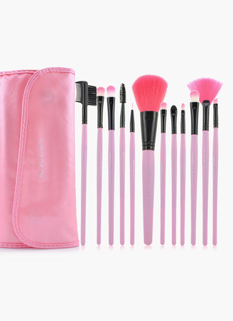 Charming 12 Pieces Pink Make Up Brushes Sets