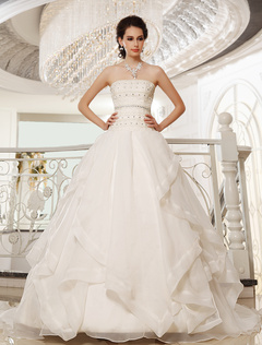 Chapel Train Ivory A-line Strapless Organza Bridal Wedding Gown with Tiered Milanoo
