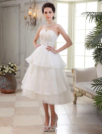 5509d821a8025 الشاي طول متعدد الطبقات مطرز العرائس فستان الزفاف مع الشق طوق ميلانو