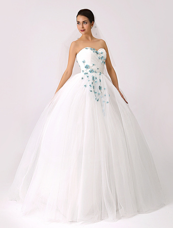 2018 Sweetheart Colored Ball Gown Wedding Dress with Flowers (Veil Included) Milanoo