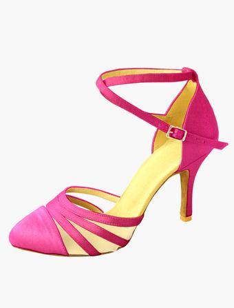 Baile zapatos del alto talón hebilla de las mujeres Cruz frontal abierto salón de baile zapatos O3XlVPMy7