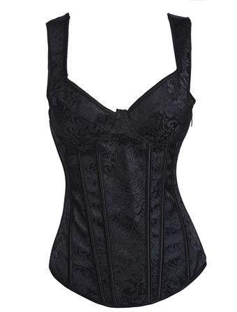 Black Punk Embroidered Jacquard Womens Lace-up Corsets