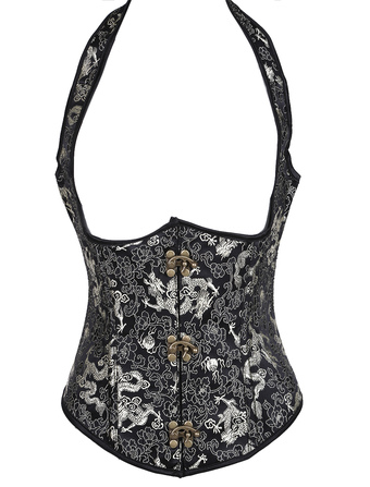 Punk Jacquard Embroidery Underbust Steampunk Corsets