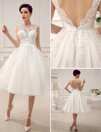 Abiti da sposa corti Vintage 1950 s Abito da sposa Senza schienale Lace  Perline Pieghe con paillettes 43a3a187c49