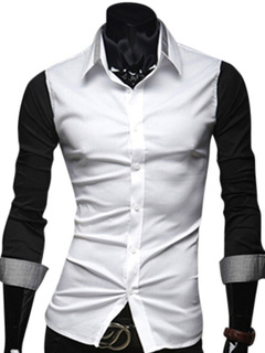 Cotton Two-Tone Shaping Long Sleeves Spread Neck Pockets Mans Casual Shirt