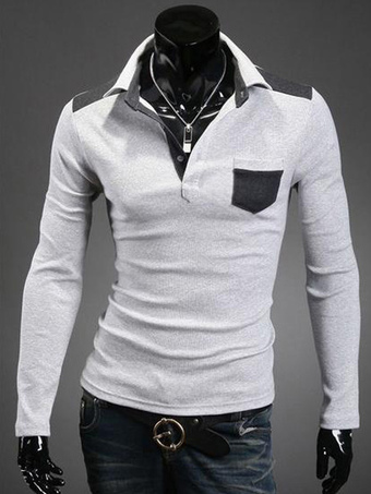 Smart Cotton Two-Tone Long Sleeves Men's Polo Shirt With Pockets