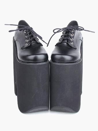 bce7e5283c32 Gothic Black Lolita High Platform Shoes Heels With Shoelace